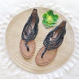 Lucky Brand 'Cyrus' Black Gladiator Sandals